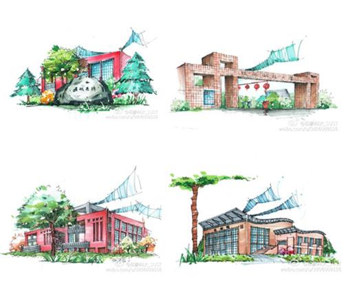 王涛手绘的大学校园风景明信片