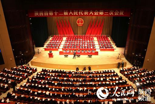 1月25日上午,陕西省第十二届人民代表大会第三次会议在西安开幕。杜旭涛/摄