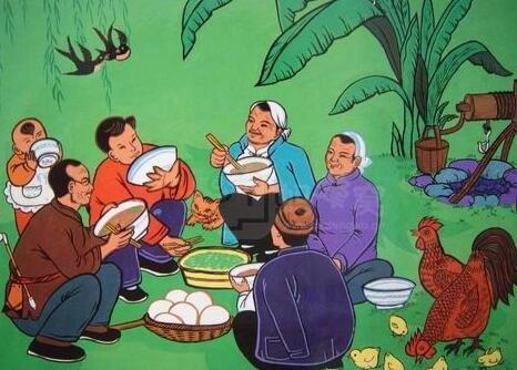 全家人一起吃饭简笔画