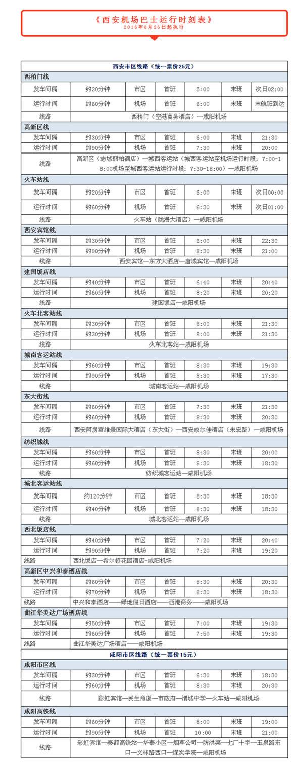 西安机场巴士运行时刻表