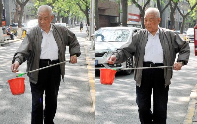 """92岁西安老人义务捡烟头一年有余 被赞""""行走的教科书"""""""